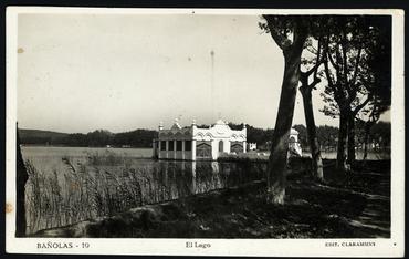 Imatge 54782 - Postal d'una vista parcial de l'estany de Banyoles i la pesquera Marimon