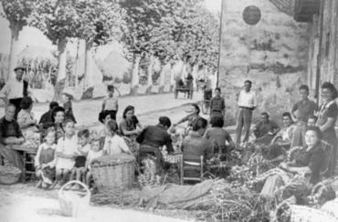Imatge 54848 - Dones enforcant alls al baixador de la Banyeta de Palol de Revardit
